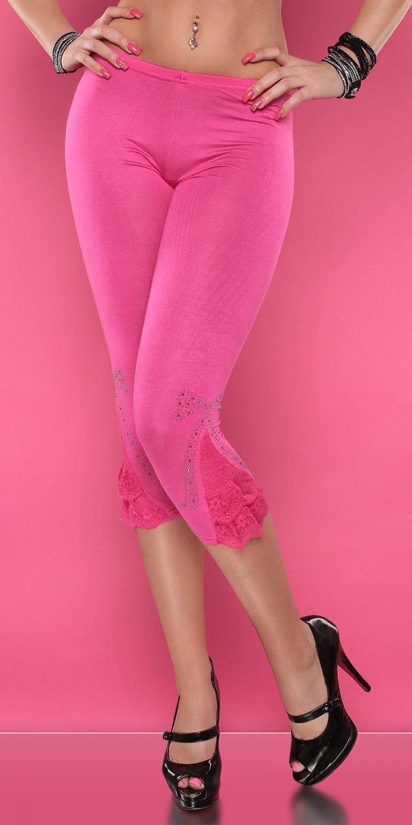 4434 Leggings with rhinestones and flounce Color FUCHSIA Size Onesize 0000LE1800 PINK 16 1