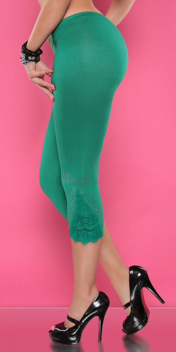 4434 Leggings with rhinestones and flounce Color GREEN Size Onesize 0000LE1800 GRUEN 1