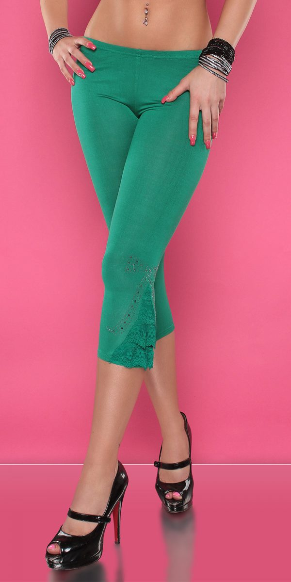 4434 Leggings with rhinestones and flounce Color GREEN Size Onesize 0000LE1800 GRUEN 2 1