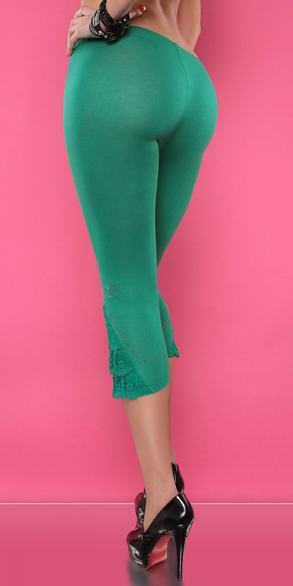 4434 Leggings with rhinestones and flounce Color GREEN Size Onesize 0000LE1800 GRUEN 3 1