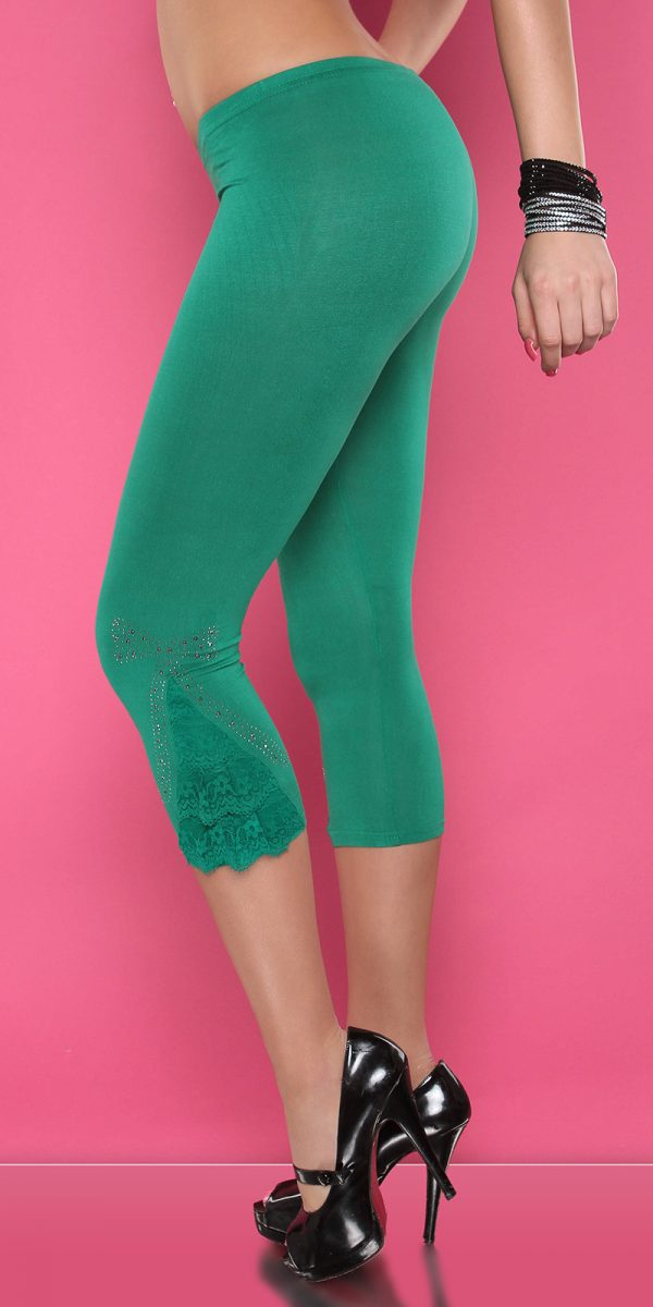 4434 Leggings with rhinestones and flounce Color GREEN Size Onesize 0000LE1800 GRUEN 5 1