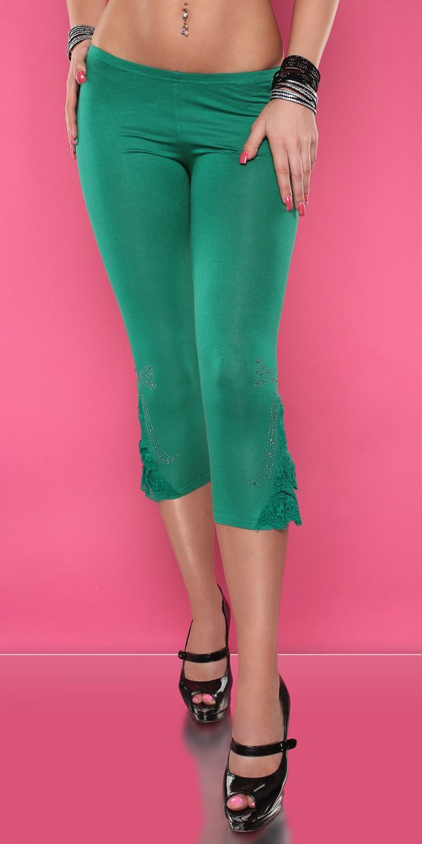 4434 Leggings with rhinestones and flounce Color GREEN Size Onesize 0000LE1800 GRUEN 6 1