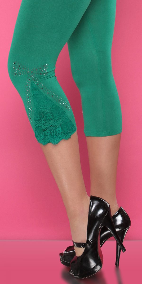 4434 Leggings with rhinestones and flounce Color GREEN Size Onesize 0000LE1800 GRUEN 7 1
