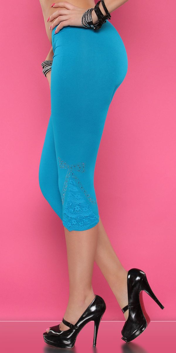 4434 Leggings with rhinestones and flounce Color TURQUOISE Size Onesize 0000LE1800 TUERKIS 30 1