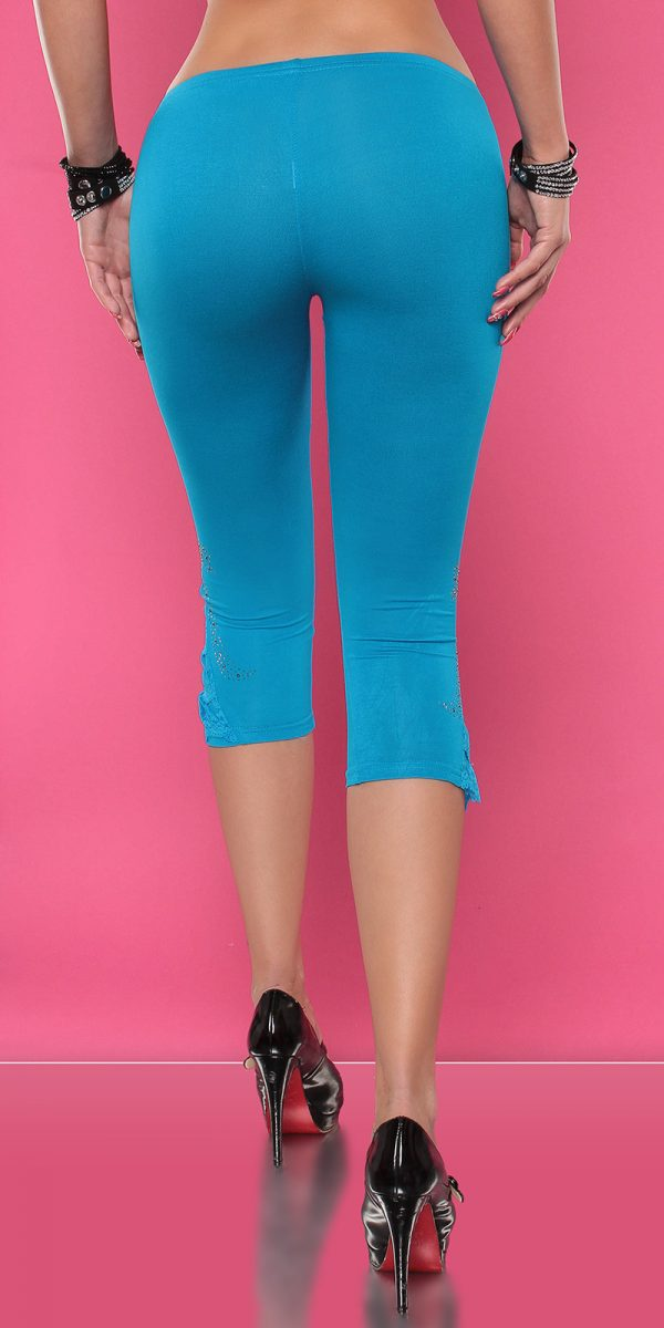 4434 Leggings with rhinestones and flounce Color TURQUOISE Size Onesize 0000LE1800 TUERKIS 32 1