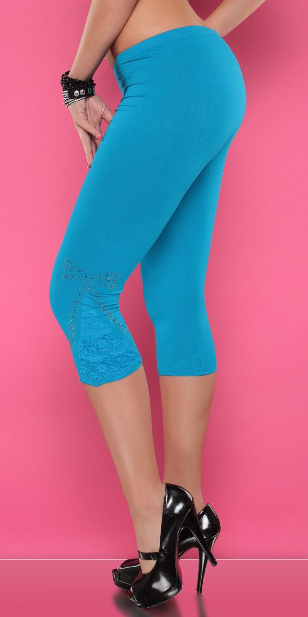 4434 Leggings with rhinestones and flounce Color TURQUOISE Size Onesize 0000LE1800 TUERKIS 34 1