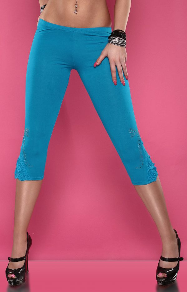 4434 Leggings with rhinestones and flounce Color TURQUOISE Size Onesize 0000LE1800 TUERKIS 35 1