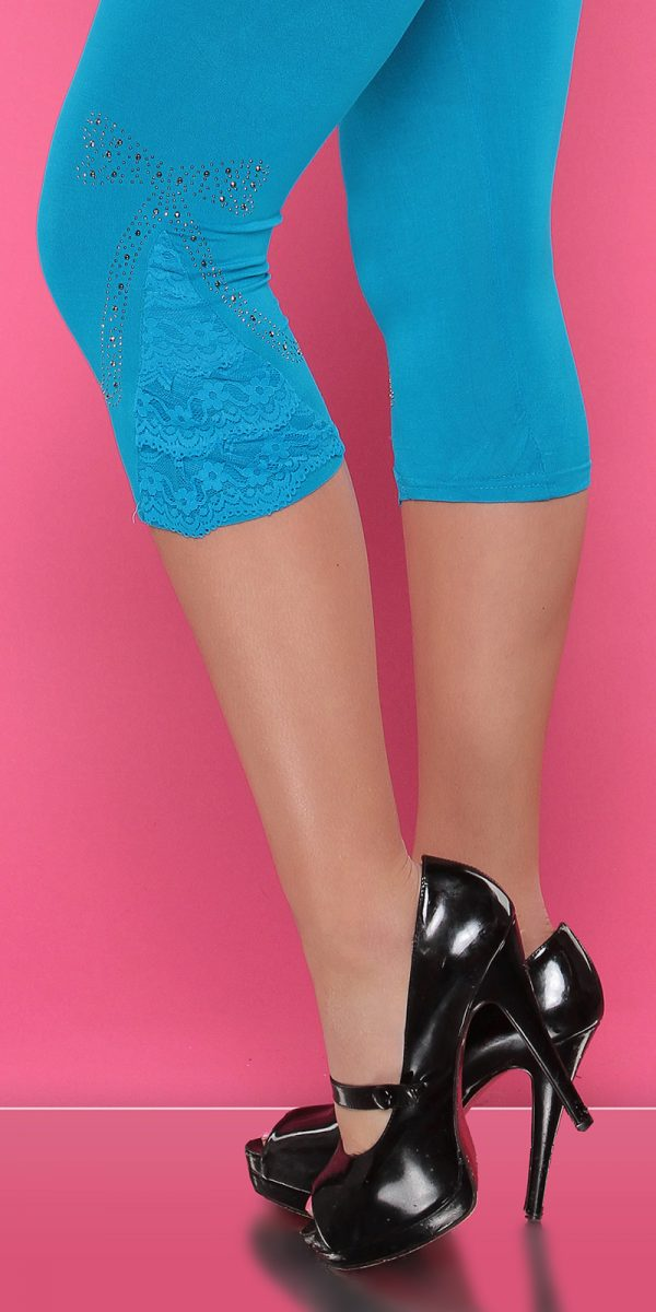 4434 Leggings with rhinestones and flounce Color TURQUOISE Size Onesize 0000LE1800 TUERKIS 36 1