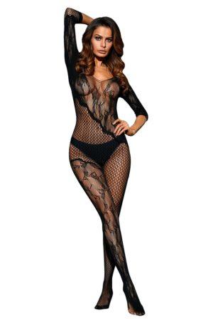 Black Asymmetric Lace Mesh Body Stocking LC79977 2 1