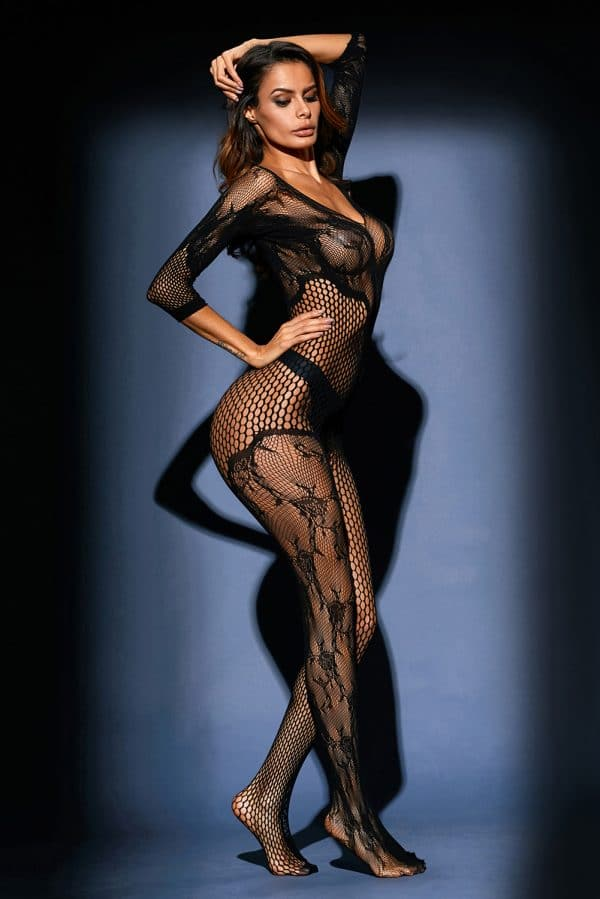 Black Asymmetric Lace Mesh Body Stocking LC79977 2 5