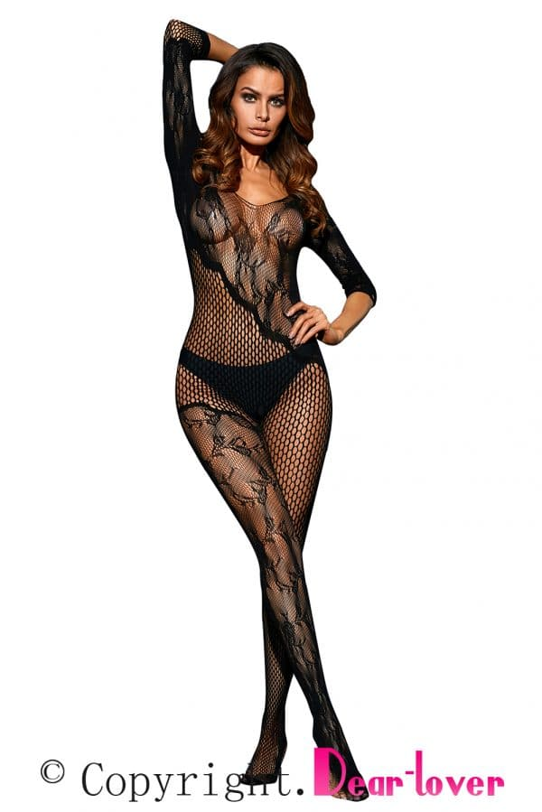 Black Asymmetric Lace Mesh Body Stocking LC79977 2 6