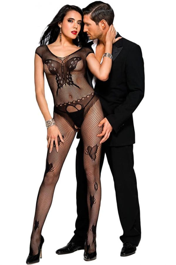 Black Butterfly Accent Fishnet Bodystocking LC79950 2 1