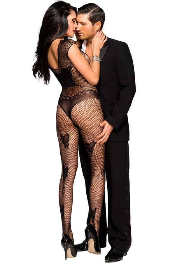 Black Butterfly Accent Fishnet Bodystocking LC79950 2 2