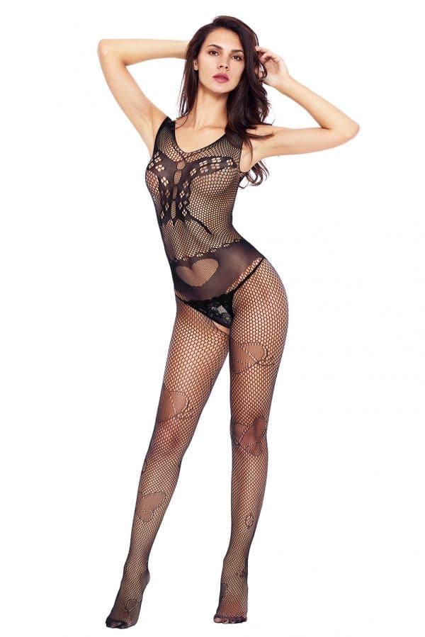Black Butterfly Accent Fishnet Bodystocking LC79950 2 3