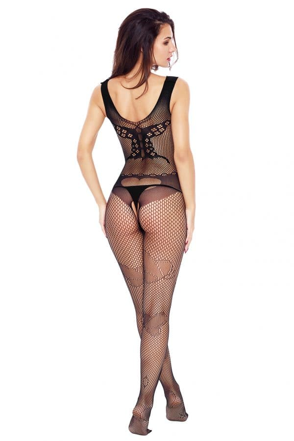 Black Butterfly Accent Fishnet Bodystocking LC79950 2 4