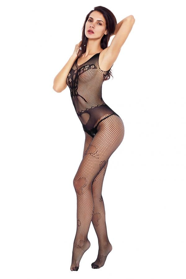 Black Butterfly Accent Fishnet Bodystocking LC79950 2 6