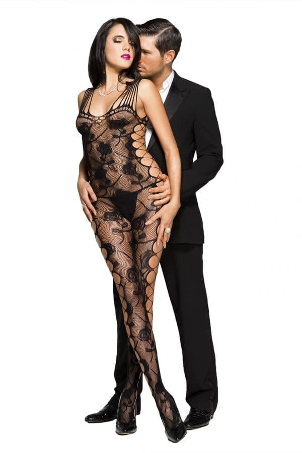 Black Sexy Cut out Side Rose Pattern Bodystocking LC79962 2 1