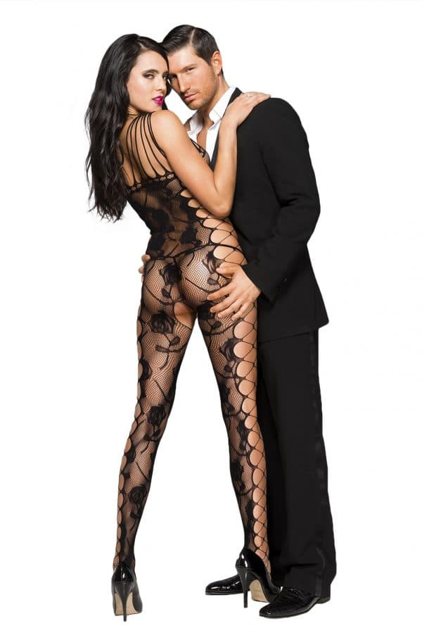 Black Sexy Cut out Side Rose Pattern Bodystocking LC79962 2 2