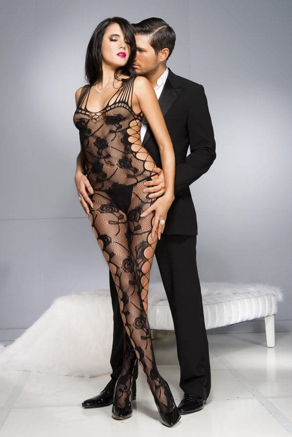 Black Sexy Cut out Side Rose Pattern Bodystocking LC79962 2 3