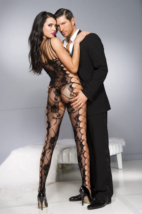 Black Sexy Cut out Side Rose Pattern Bodystocking LC79962 2 4
