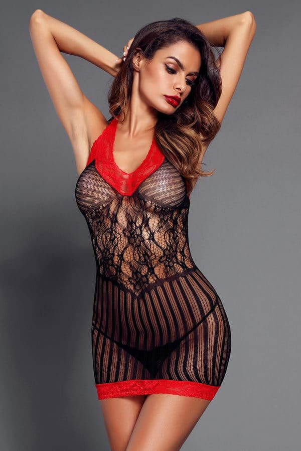 Black Sexy Lace Contrast V Neck Hater Chemise LC31134 2 3