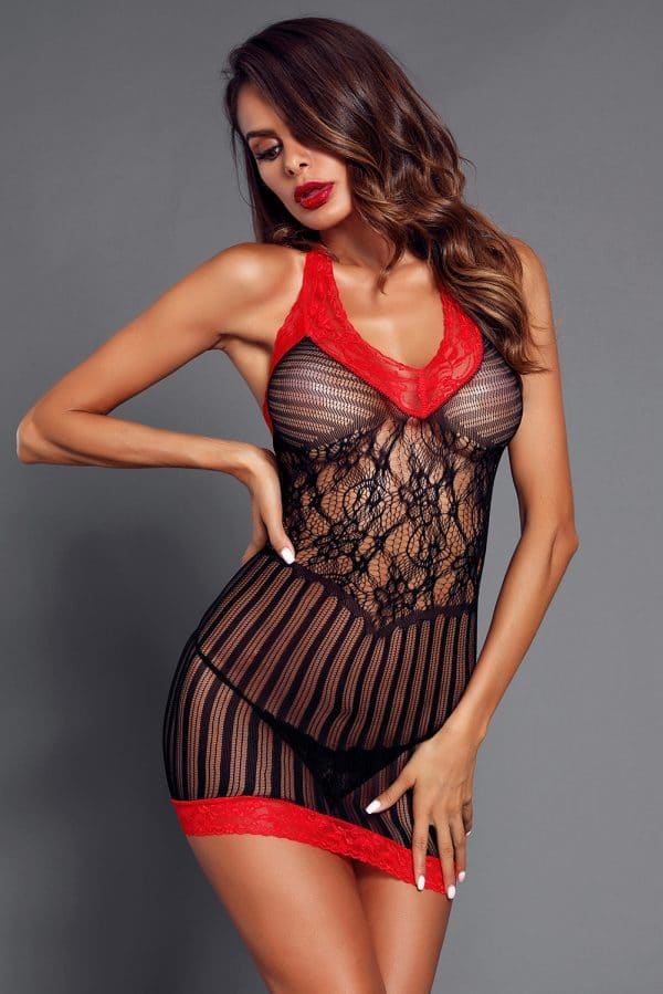 Black Sexy Lace Contrast V Neck Hater Chemise LC31134 2 4