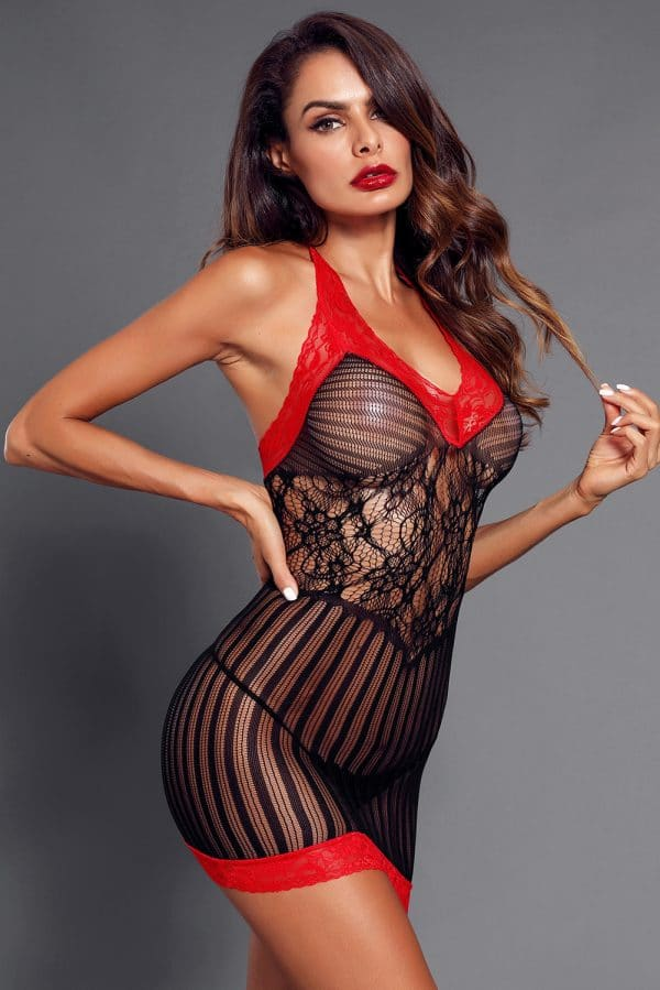 Black Sexy Lace Contrast V Neck Hater Chemise LC31134 2 5