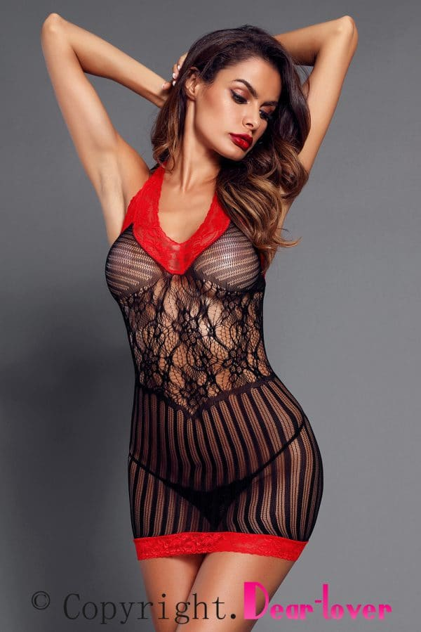 Black Sexy Lace Contrast V Neck Hater Chemise LC31134 2 7