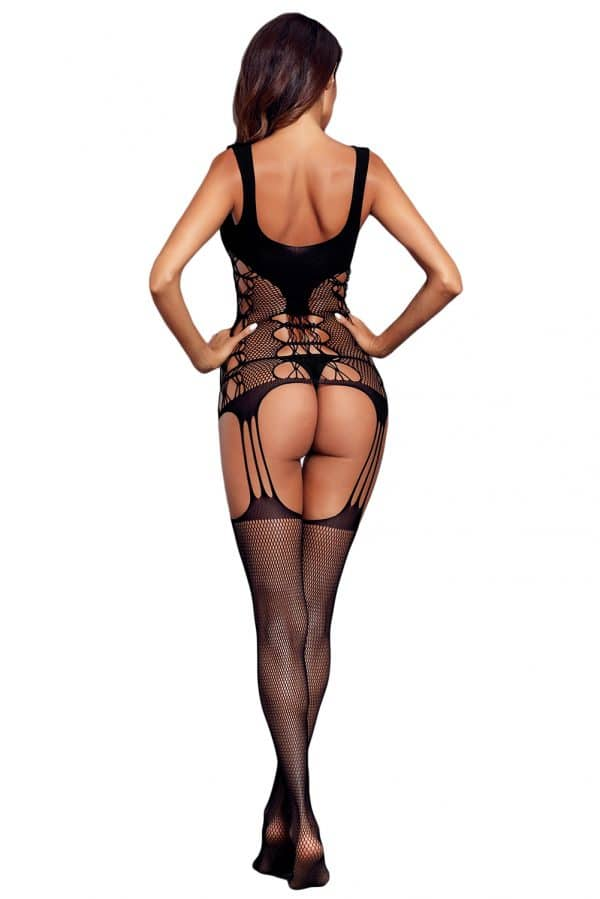 Black Strappy Cutout Detail Open Crotch Bodystocking LC790039 2 2