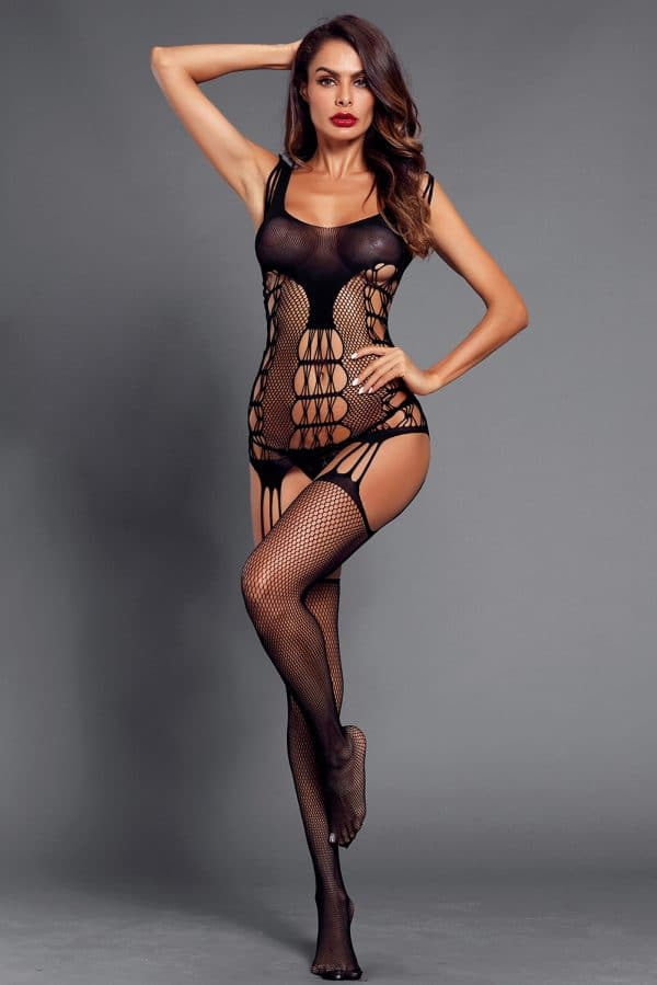 Black Strappy Cutout Detail Open Crotch Bodystocking LC790039 2 3