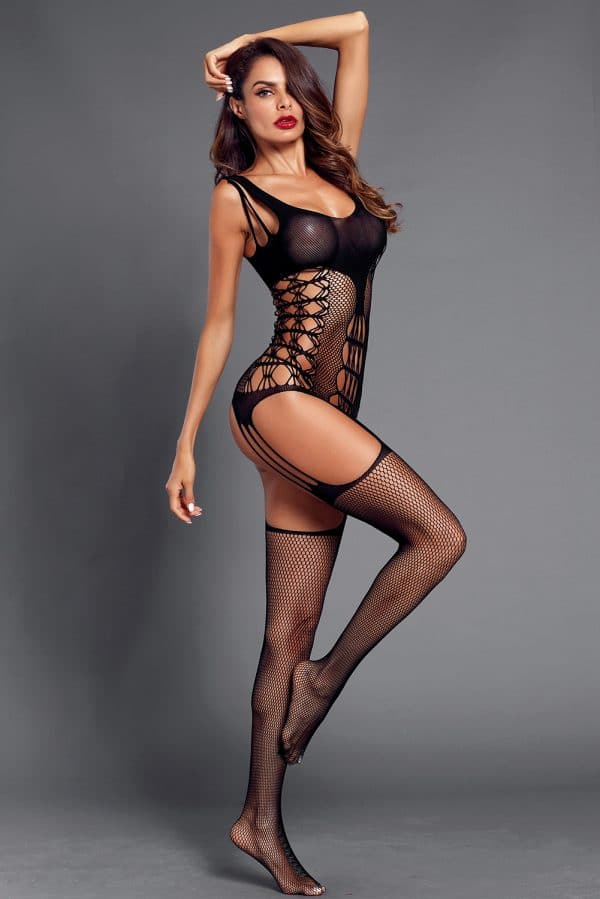 Black Strappy Cutout Detail Open Crotch Bodystocking LC790039 2 5