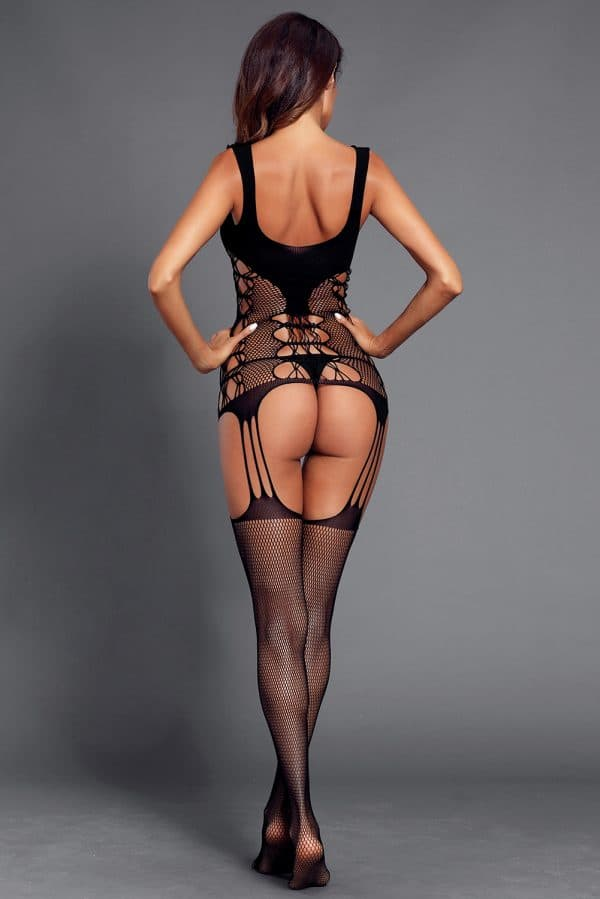 Black Strappy Cutout Detail Open Crotch Bodystocking LC790039 2 6