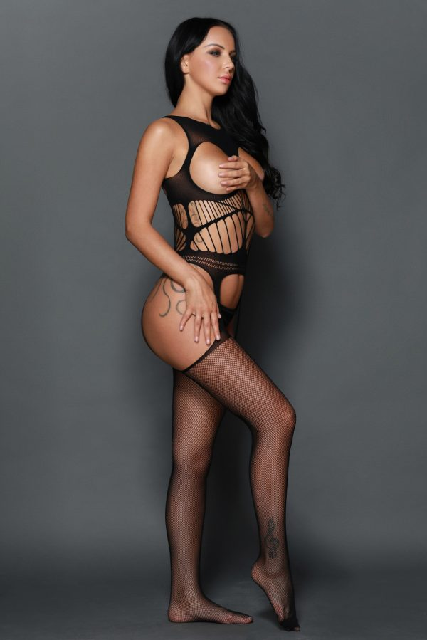 Off the shoulder Open Cup Netted Suspender Cut Bodystocking LC79896 2 11