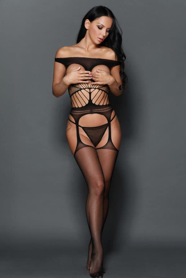Off the shoulder Open Cup Netted Suspender Cut Bodystocking LC79896 2 7