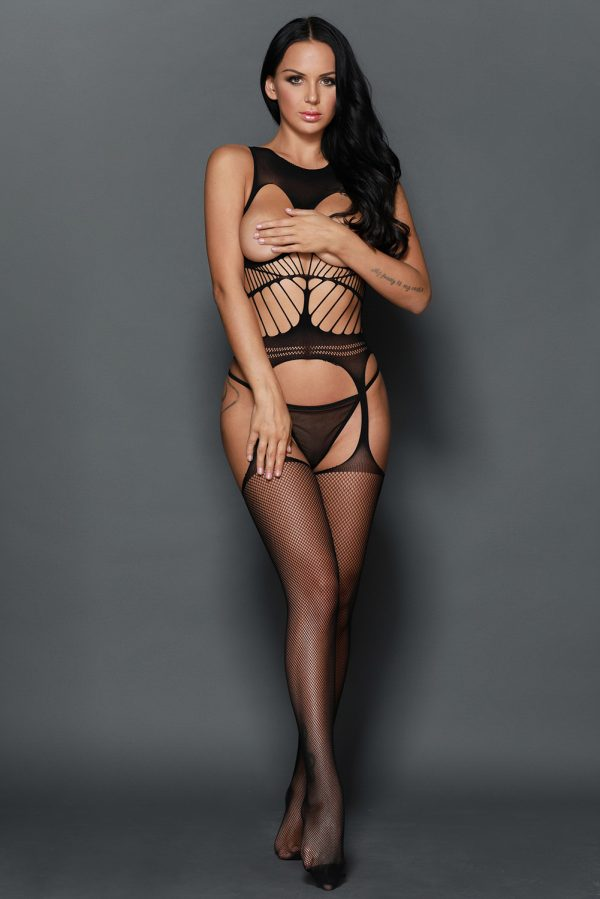 Off the shoulder Open Cup Netted Suspender Cut Bodystocking LC79896 2 9