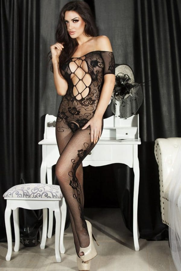 Open Crotch Rose Pattern Lace Body Stockings LC79371 1