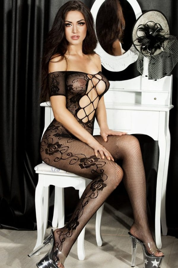 Open Crotch Rose Pattern Lace Body Stockings LC79371 2