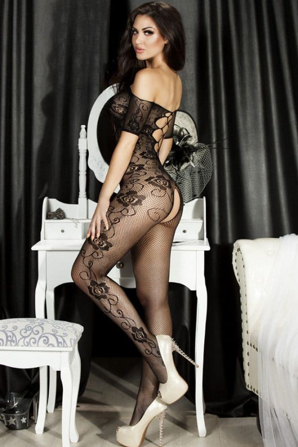 Open Crotch Rose Pattern Lace Body Stockings LC79371 3