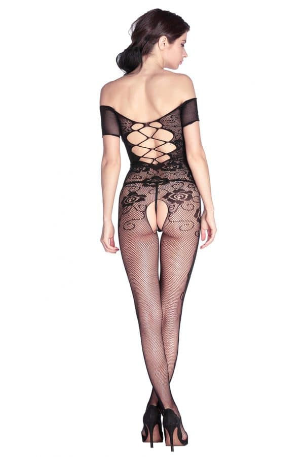 Open Crotch Rose Pattern Lace Body Stockings LC79371 7