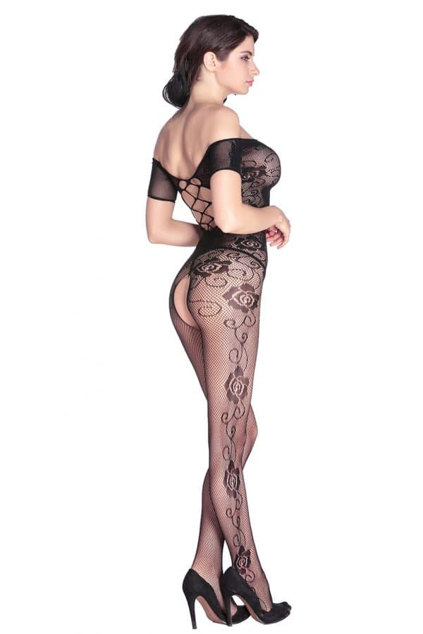 Open Crotch Rose Pattern Lace Body Stockings LC79371 8
