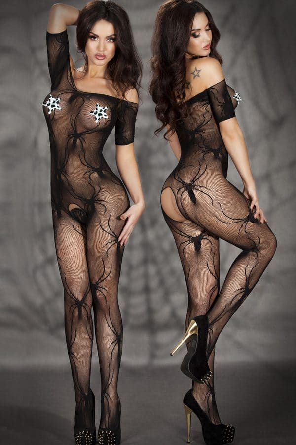 Open Crotch Spider Crawl Body Stockings LC79446 1