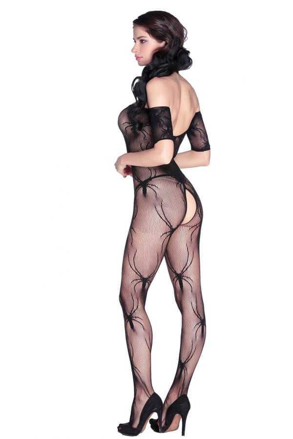 Open Crotch Spider Crawl Body Stockings LC79446 4