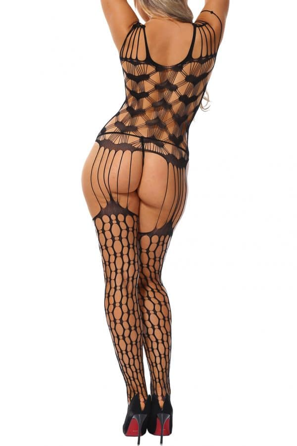 Shredded Shoulder Heart Pattern Hollow out Bodystocking LC79963 2 2