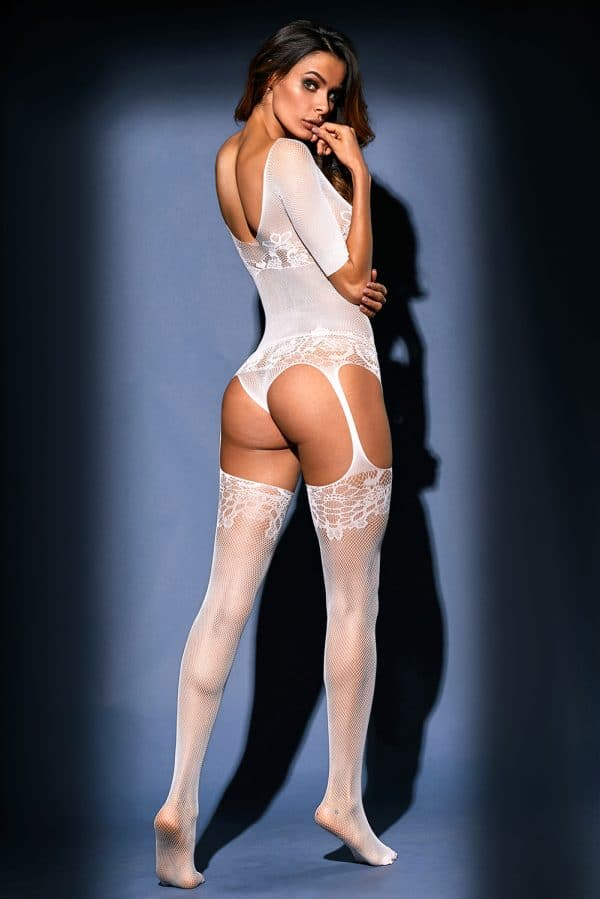 White Sheer Lace Mesh Teddy Garter Body Stocking LC79976 1 2