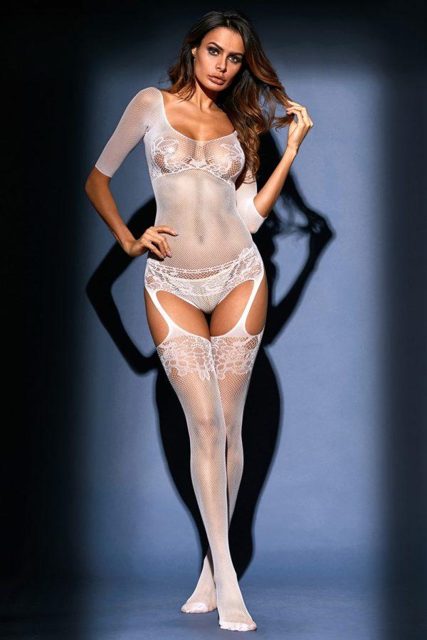 White Sheer Lace Mesh Teddy Garter Body Stocking LC79976 1 4