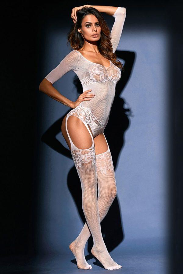 White Sheer Lace Mesh Teddy Garter Body Stocking LC79976 1 5