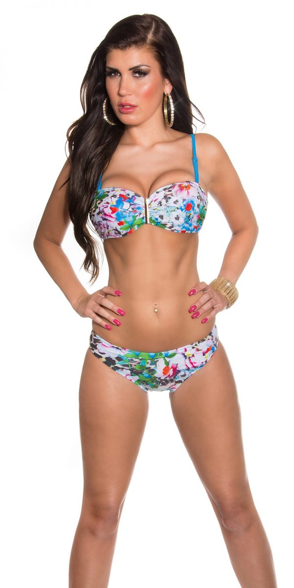 aaBalconet Bikini flower print remov Carrier Color TURQUOISE Size 40 0000L1700 TUERKIS 16