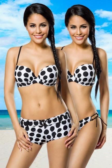 3v1 Bieločierne pushup plavky s dvomi nohavičkami