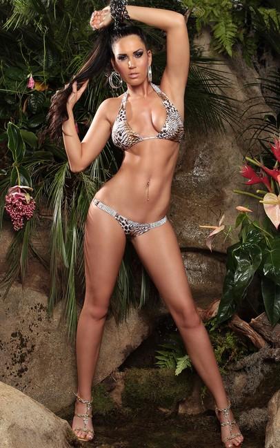 bikini s obojstrannymi strasovymi ozdobami with rhinestones leop 128