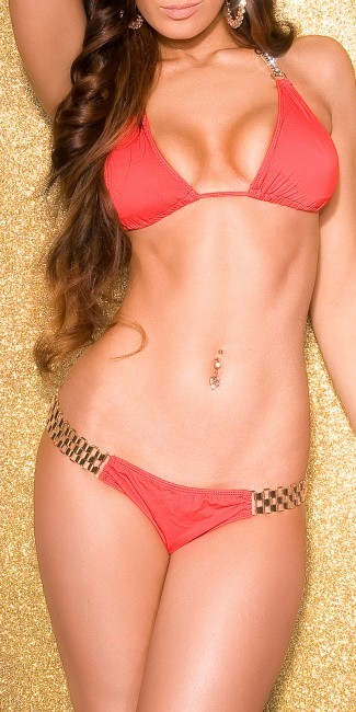 Bikini červené s nádherným zlatým zdobením